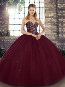 Trendy Burgundy Tulle Lace Up Sweetheart Sleeveless Floor Length Sweet 16 Dresses Beading