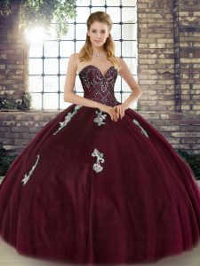 Cheap Sweetheart Sleeveless Sweet 16 Dress Floor Length Beading and Appliques Burgundy Tulle