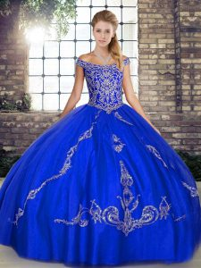 Most Popular Royal Blue Lace Up Off The Shoulder Beading and Embroidery Quinceanera Dress Tulle Sleeveless