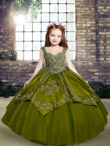 New Arrival Floor Length Lace Up Child Pageant Dress Olive Green for Party and Military Ball and Wedding Party with Beading and Embroidery