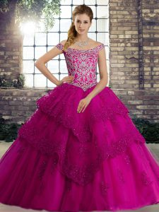 Fuchsia Ball Gowns Off The Shoulder Sleeveless Tulle Brush Train Lace Up Beading and Lace Ball Gown Prom Dress