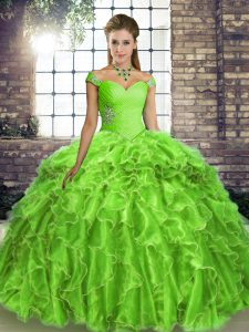 Sweet Sleeveless Beading and Ruffles Lace Up Quinceanera Gowns