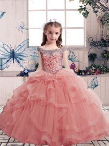 Tulle Sleeveless Floor Length Little Girls Pageant Dress Wholesale and Beading and Ruffles