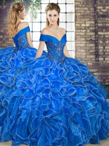 Enchanting Off The Shoulder Sleeveless Lace Up Quinceanera Gown Royal Blue Organza