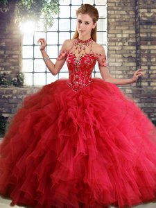 Attractive Red Halter Top Lace Up Beading and Ruffles Sweet 16 Dress Sleeveless