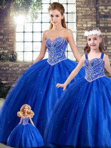Sweetheart Sleeveless Sweet 16 Dress Brush Train Beading Blue Tulle
