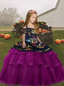 Long Sleeves Lace Up Floor Length Embroidery Girls Pageant Dresses