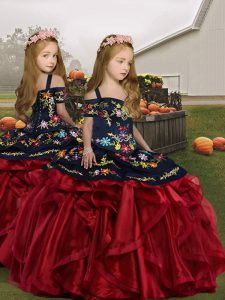 Wine Red Sleeveless Organza Lace Up Girls Pageant Dresses for Party and Wedding Party
