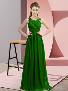 Dark Green Chiffon Zipper Court Dresses for Sweet 16 Sleeveless Floor Length Beading and Appliques