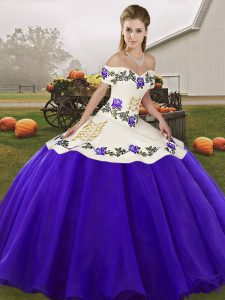 Chic White And Purple Sleeveless Embroidery Floor Length Quinceanera Dresses