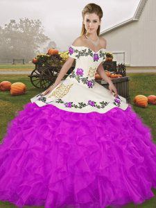 Floor Length Purple Quince Ball Gowns Organza Sleeveless Embroidery and Ruffles