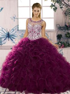 Sexy Dark Purple Ball Gowns Beading and Ruffles Ball Gown Prom Dress Lace Up Organza Sleeveless Floor Length