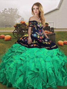 Off The Shoulder Sleeveless Organza 15 Quinceanera Dress Embroidery and Ruffles Lace Up