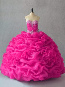 Deluxe Floor Length Fuchsia Quinceanera Dress Organza Sleeveless Beading and Pick Ups and Hand Made Flower