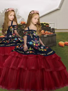 Sleeveless Floor Length Embroidery and Ruffled Layers Lace Up Little Girls Pageant Gowns with Red