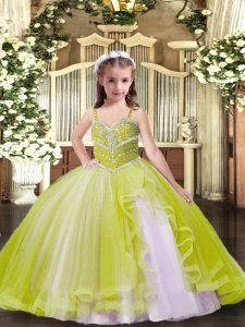 Beauteous Ball Gowns Girls Pageant Dresses Yellow Green Straps Tulle Sleeveless Floor Length Lace Up