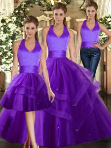 Purple Three Pieces Ruffles Quinceanera Gowns Lace Up Tulle Sleeveless Floor Length