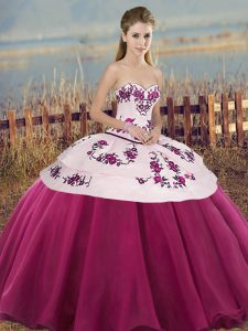 Luxurious Sleeveless Tulle Floor Length Lace Up Sweet 16 Dresses in Fuchsia with Embroidery and Bowknot