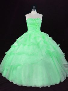 Vintage Sweetheart Sleeveless Quinceanera Dresses Floor Length Hand Made Flower Organza