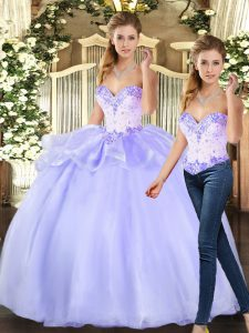 Noble Beading Vestidos de Quinceanera Lavender Lace Up Sleeveless Floor Length
