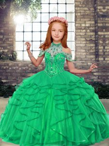 Customized Turquoise Ball Gowns Beading and Ruffles Little Girls Pageant Dress Wholesale Lace Up Tulle Sleeveless Floor Length