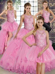 Modern Scoop Sleeveless Vestidos de Quinceanera Floor Length Lace and Embroidery and Ruffles Rose Pink Tulle