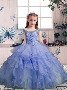 Beautiful Lavender Ball Gowns Beading and Ruffles Little Girls Pageant Dress Wholesale Lace Up Organza Sleeveless Floor Length