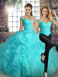 Inexpensive Sleeveless Organza Floor Length Lace Up Ball Gown Prom Dress in Aqua Blue with Beading and Ruffles