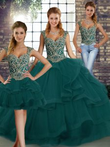 Peacock Green Sleeveless Beading and Ruffles Floor Length Party Dress for Toddlers
