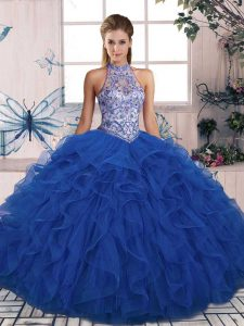 Cheap Sleeveless Floor Length Beading and Ruffles Lace Up 15 Quinceanera Dress with Blue