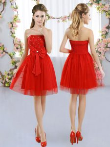 Pretty Strapless Sleeveless Damas Dress Mini Length Beading and Bowknot Red Tulle