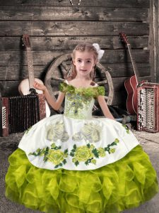 Dazzling Floor Length Olive Green Pageant Dress for Girls Organza Sleeveless Beading and Embroidery and Ruffles