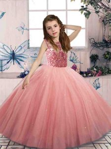 Watermelon Red Lace Up Scoop Beading Little Girl Pageant Dress Tulle Sleeveless