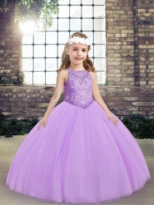 Excellent Lavender Scoop Lace Up Beading Pageant Dress for Teens Sleeveless