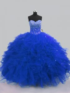 Modest Royal Blue Sleeveless Beading and Ruffles Floor Length Ball Gown Prom Dress