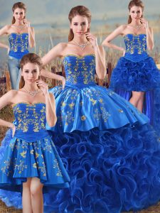 High Quality Royal Blue Lace Up Sweetheart Embroidery and Ruffles Quinceanera Dresses Fabric With Rolling Flowers Sleeveless