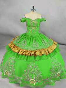Charming Sleeveless Floor Length Embroidery Lace Up Quinceanera Dress with Green