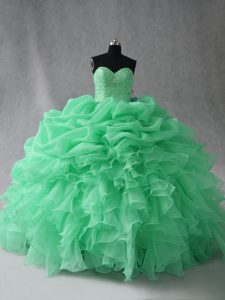 Attractive Apple Green Sleeveless Floor Length Beading and Ruffles and Pick Ups Lace Up 15 Quinceanera Dress