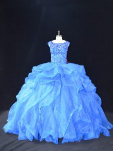 Scoop Sleeveless Quince Ball Gowns Brush Train Beading and Ruffles Blue Organza