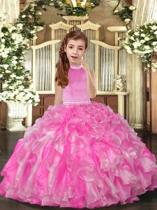Organza High-neck Sleeveless Backless Beading and Ruffles Girls Pageant Dresses in Rose Pink