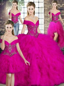 Fuchsia Lace Up Off The Shoulder Beading and Ruffles Vestidos de Quinceanera Tulle Sleeveless