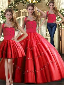 Red Quinceanera Gowns Military Ball and Sweet 16 and Quinceanera with Appliques Halter Top Sleeveless Lace Up