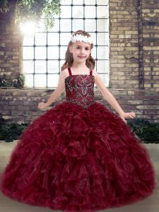 Floor Length Burgundy Little Girls Pageant Gowns Straps Sleeveless Lace Up