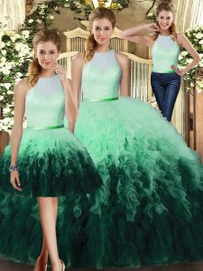 Sleeveless Ruffles Backless Quinceanera Gowns
