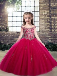 New Style Hot Pink Lace Up Scoop Beading and Appliques Little Girls Pageant Dress Wholesale Tulle Sleeveless
