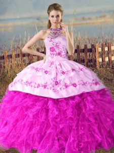 Sleeveless Organza Court Train Lace Up Ball Gown Prom Dress in Fuchsia with Embroidery and Ruffles