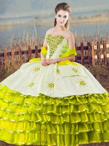 Cute Olive Green Ball Gowns Organza Sweetheart Sleeveless Beading and Ruffled Layers Floor Length Lace Up 15 Quinceanera Dress