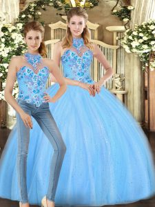 Smart Sleeveless Floor Length Embroidery Lace Up Sweet 16 Dresses with Baby Blue