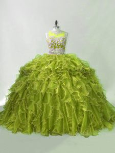 Sleeveless Beading and Ruffles Zipper Quinceanera Dresses with Olive Green Brush Train