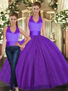 Colorful Floor Length Two Pieces Sleeveless Purple Sweet 16 Dress Lace Up